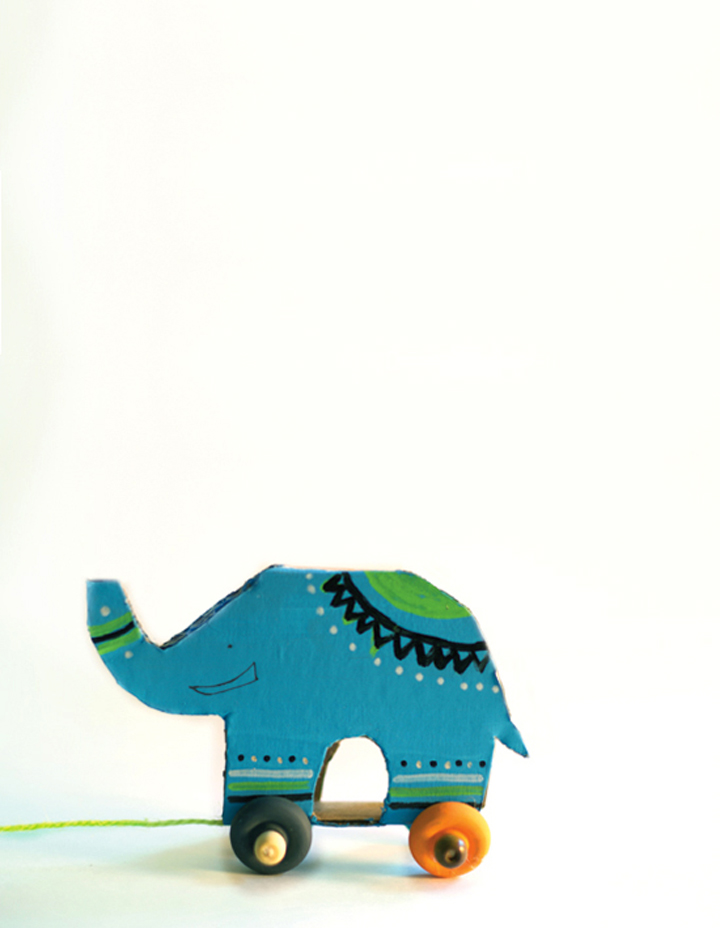 Recycled Cardboard Elephant Pull Toy | little monster