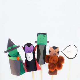Wine Cork Halloween Monster Puppets